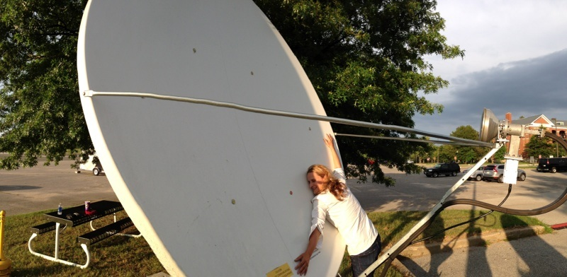 This satellite dish at Fort Meade, Maryland near NSA headquarters receives audio and video of the Guantanamo Bay military tribunals sent from Cuba.  Photo by Xeni Jardin